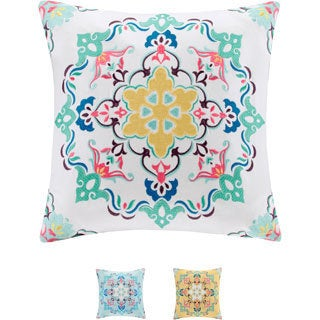 Intelligent Design Cotton Canvas Medallion Embroidered Decorative Pillow - Multiple Options