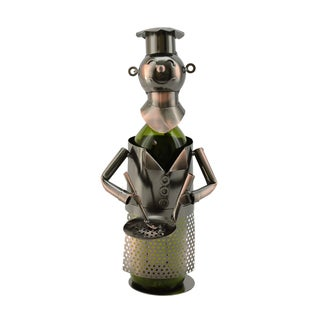 WineBodies Chef with Pan in Bronze Metal Wine Bottle Holder