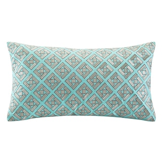 Echo 'Status' Oblong Aqua Blue/ Grey Embroidered Pillow