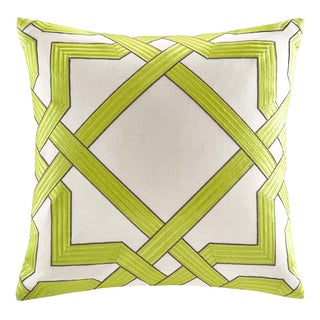 Echo 'Status' 18-inch Square Green Geometric Cotton Pillow
