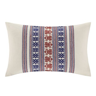 Echo 'Cozumel' Oblong Off-white Embroidered Pillow