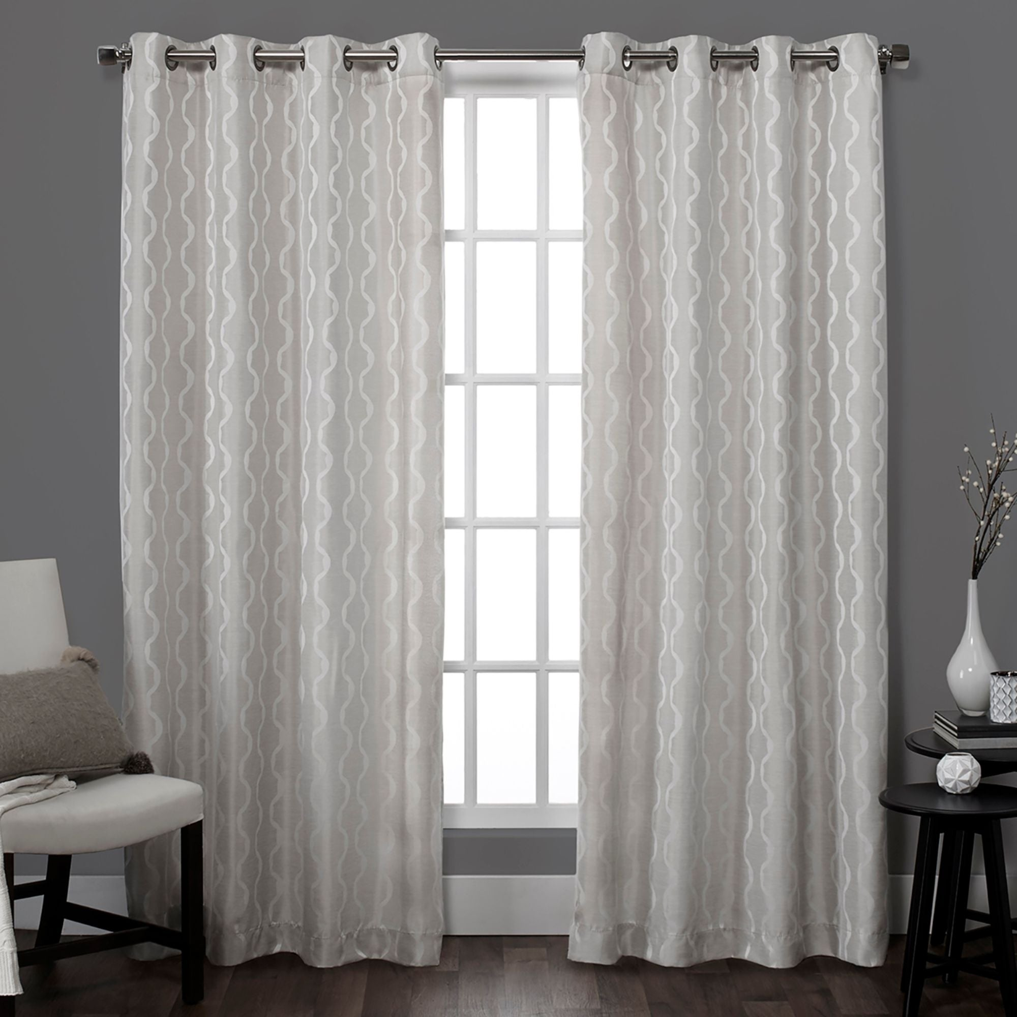 Yellow and grey curtain panels baroque grommet top 84 inch
