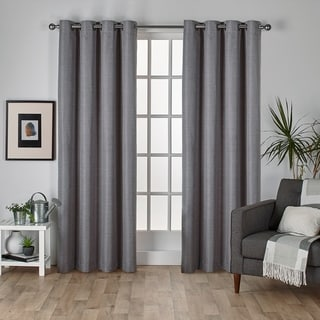 Raw Silk Thermal Insulated Grommet Top 84 inch Curtain Panel Pair