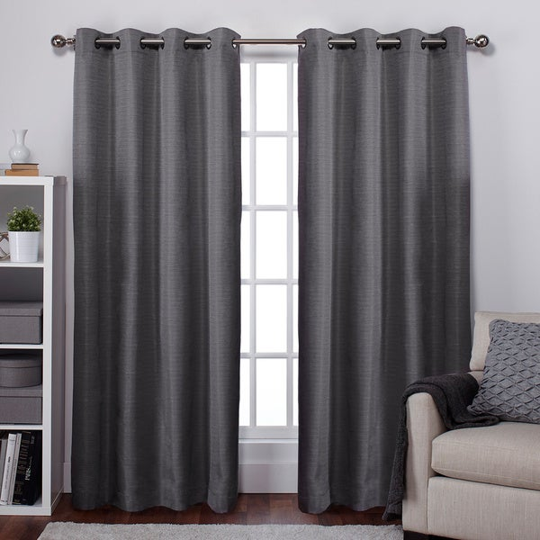 Raw Silk Thermal Insulated Grommet Top Curtain Panel Pair