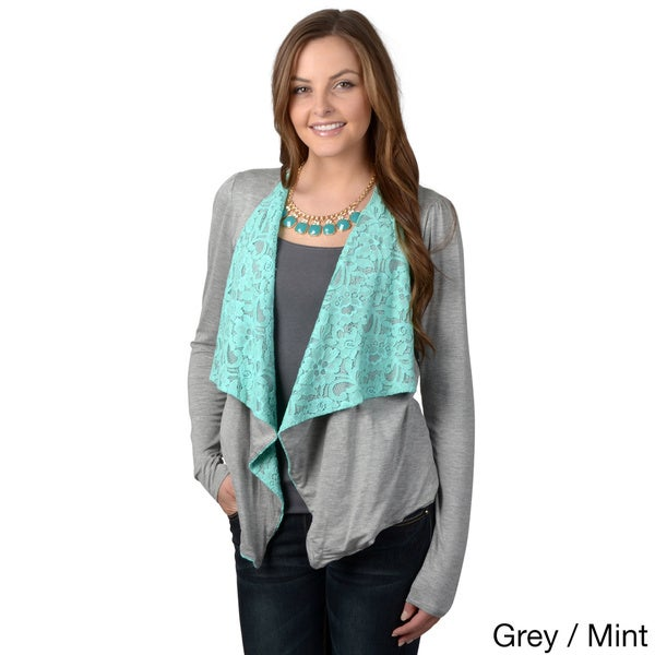 Journee Collection Women's Lace Detail Open-front Cardigan