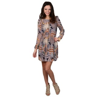 Hailey Jeans Co. Juniors Plum Long Sleeve Patterned Tunic Dress