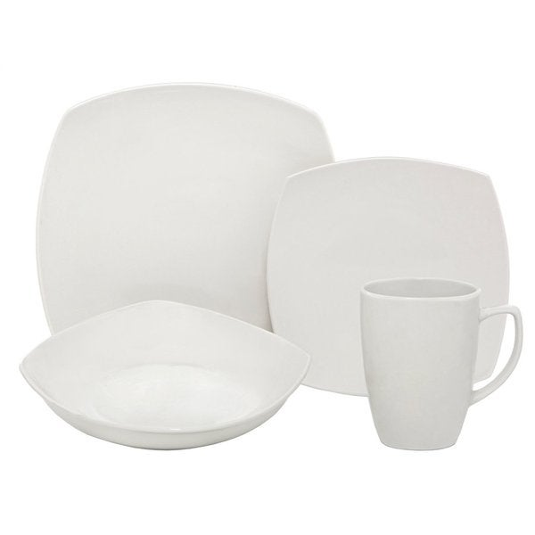 Melange Square White Porcelain 16-piece Place Setting