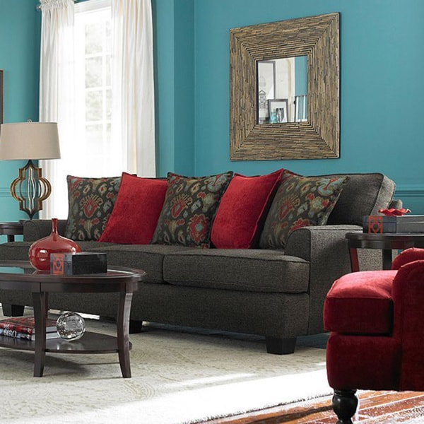 Westport Walnut Upholstered Sofa 16117416 Overstock
