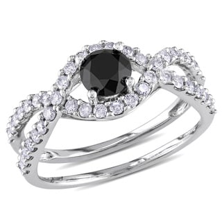 Miadora 14k White Gold 1 1/5ct TDW Black and White Diamond Ring (G-H, I1-I2)