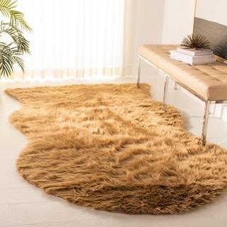 Safavieh Handmade Faux Sheep Skin Camel Acrylic Rug (5' x 8')