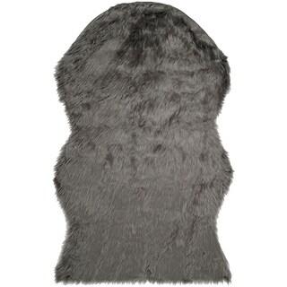 Safavieh Handmade Faux Sheep Skin Grey Acrylic Rug (3' x 5')