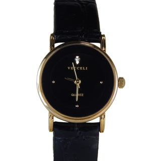Vecceli Women's Fashion Black Leather Watch