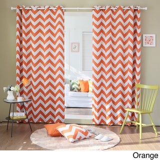 Chevron Print Room Darkening Grommet Top 84-inch Curtain Panel Pair