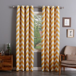 Lights Out Chevron Print Room Darkening Grommet Top 84-inch Curtain Panel Pair