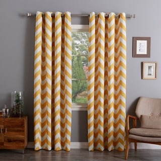 Aurora Home Chevron Print Room Darkening Grommet Top 84-inch Curtain Panel Pair