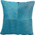 Nourison Mina Victory 18 x 18-inch Natural Leather and Hide Turquoise Throw Pillow