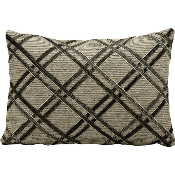 Mina Victory Natural Leather and Hide Double Diagonal Dark Grey Throw Pillow (14-inch x 20-inch) by Nourison