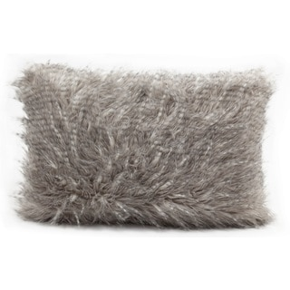 Nourison Mina Victory Grey 12 x 18-inch Faux Fur Throw Pillow