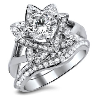 14k White Gold 1 3/4ct Clarity Enhanced 2-piece Diamond Lotus Flower Bridal Set (G-H, SI1-SI2)