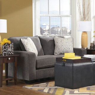 Signature Design by Ashley Hodan Marble Loveseat and Accent Pillows