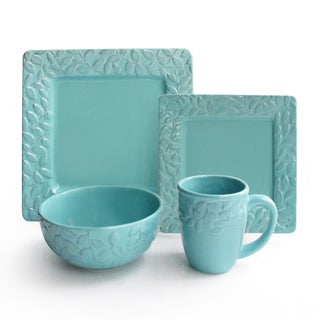 Waverly 'Be Leaf Me' Teal 16-piece Earthenware Set