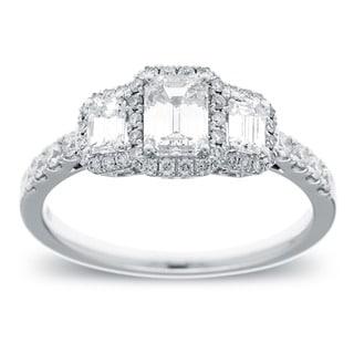 14k White Gold 1 1/6ct TDW Emerald-cut Diamond Engagement Ring (G-H, SI2-I1)