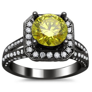 18k Black Gold 2 1/5ct Round Canary Yellow and White Diamond Ring (SI1-SI2)