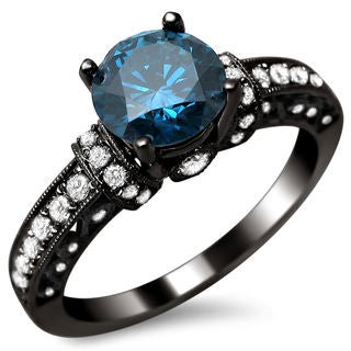 18k Black Gold 1 3/8ct TDW Round Blue and White Diamond Ring (SI1-SI2)