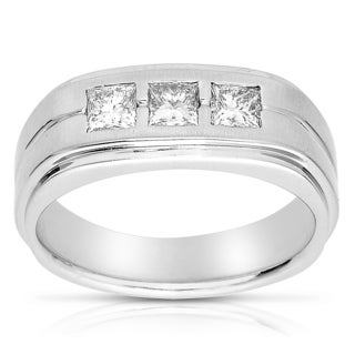 Eloquence 14k White Gold 1ct TDW Men's Diamond Wedding Band (I-J, I1-I2)