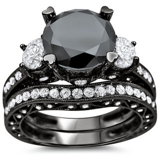 18k Black Gold 4 3/4ct Black and White Round Diamond Bridal Ring Set (G-H, SI1-SI2)