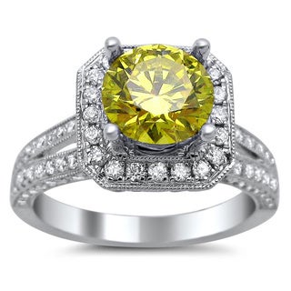 18k White Gold 2 1/5ct TDW Round Canary Yellow and White Diamond Square Engagement Ring (G-H, SI1-SI2)