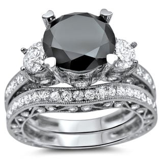 Noori 18k White Gold 4 3/4ct Black and White Round Diamond Bridal Ring Set (SI1-SI2)