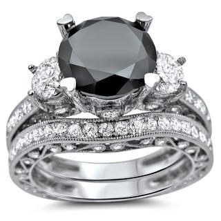 Noori 18k White Gold 4 1/4 ct Black and White Round Diamond Bridal Ring Set (G-H, SI1-SI2)