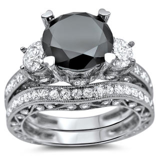 18k White Gold 4 3/4ct Black and White Round Diamond Bridal Ring Set (SI1-SI2)