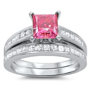 14k White Gold 2 1/10ct Pink and White Princess-cut Diamond Bridal Ring Set (G-H, SI1-SI2)