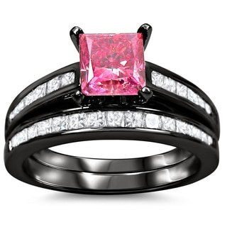 14k Black Gold 2 1/10ct Pink Princess-cut Diamond Bridal Ring Set (SI1-SI2)