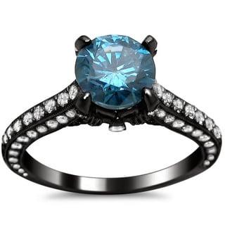 Noori 18k Black Gold 2 2/5ct Round Blue and White Diamond Ring (SI1-SI2)