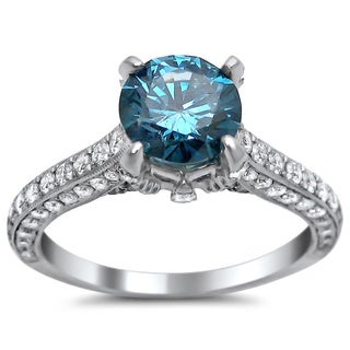 18k White Gold 2 2/5ct Round Blue and White Diamond Ring (SI1-SI2)
