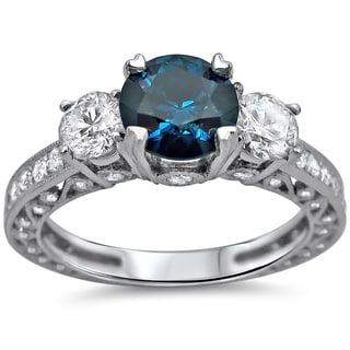 18k White Gold 2ct TDW Blue and White Round Diamond Ring (SI1-SI2)