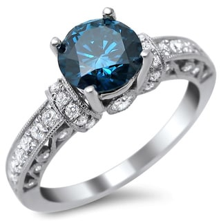 14k White Gold 1 3/8ct Round Blue and White Diamond Ring (SI1-SI2)