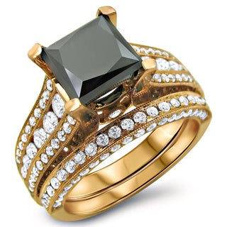 14k Rose Gold 4 1/10ct Black and White Princess Cut Diamond Bridal Ring Set (G-H, SI1-SI2)
