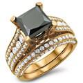14k Rose Gold 4 1/10ct Black and White Princess Cut Diamond Bridal Ring Set (G-H, SI1-SI2)