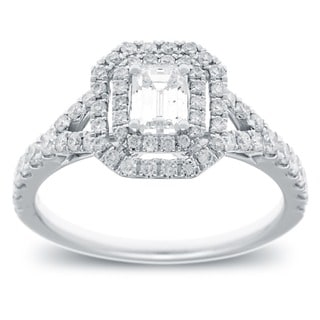 14k White Gold 1 1/6ct TDW Emerald Cut Diamond Double Halo Engagement Ring (G-H, SI2-I1)