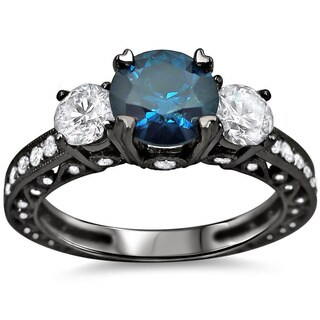 Noori 18k Black Gold 2ct TDW Blue and White Round Diamond Ring (SI1-SI2)