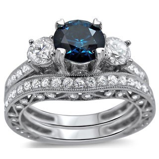 18k White Gold 2 7/8ct Blue and White Round Diamond Engagement Ring Bridal Set (SI1-SI2)
