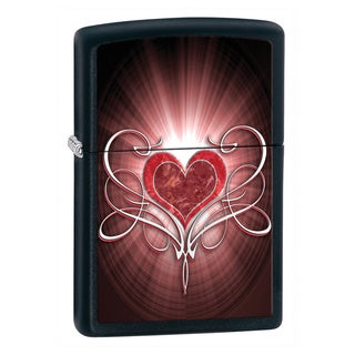 Zippo Windproof Lighter Black and Red Heart