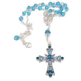 Aquamarine Crystal 5-piece Catholic Wedding Jewelry Set