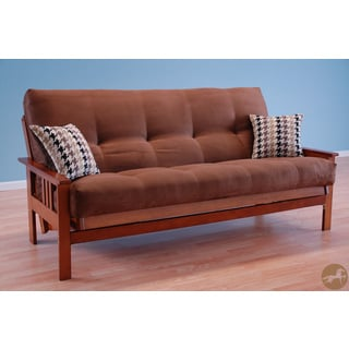 Christopher Knight Home Futon Frame in Honey Oak Wood with Suede Chocolate Innerspring Mattress