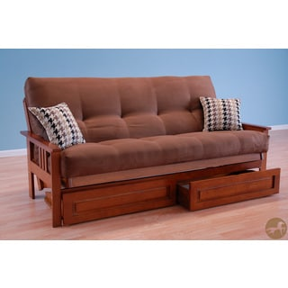 Christopher Knight Home Futon Frame in Honey Oak Wood with Suede Chocolate Innerspring Mattress and Drawer Set