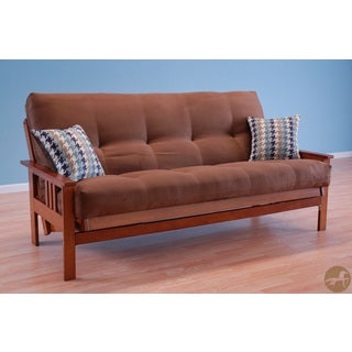 Christopher Knight Home Honey Oak Wood Futon Frame with Suede Chocolate Innerspring Mattress and Indigo Pillows